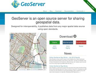 Main page screenshot of geoserver.org