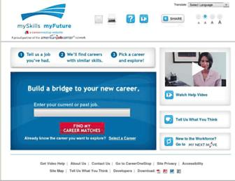 Main page screenshot of myskillsmyfuture.org