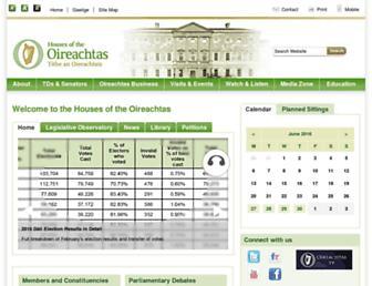 Main page screenshot of oireachtas.ie