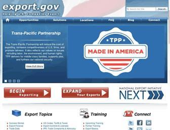 Main page screenshot of export.gov