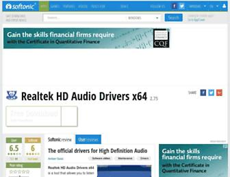 realtek-hd-audio-drivers-x64.en.softonic.com screenshot