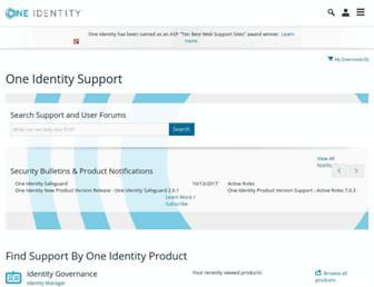 support.oneidentity.com screenshot
