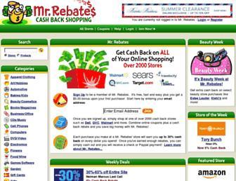 Screenshot for mrrebates.com