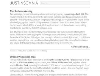 Main page screenshot of justinsomnia.org