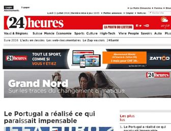 Main page screenshot of 24heures.ch