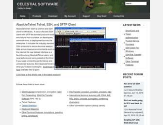 Main page screenshot of celestialsoftware.net