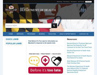 health.maryland.gov screenshot