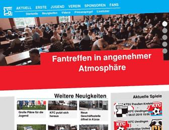 Main page screenshot of kfc-uerdingen.de