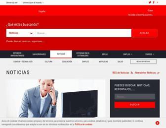 Main page screenshot of noticias.universia.es