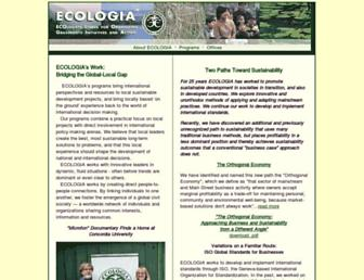 Main page screenshot of ecologia.org