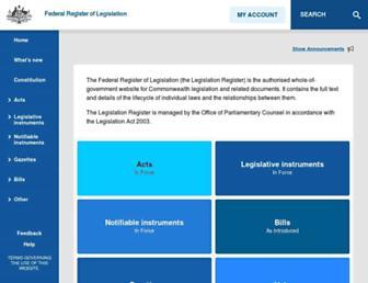 legislation.gov.au screenshot