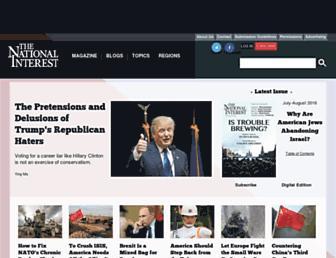 Main page screenshot of nationalinterest.org