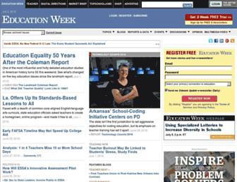 Main page screenshot of edweek.org