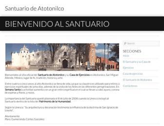 Main page screenshot of santuariodeatotonilco.org