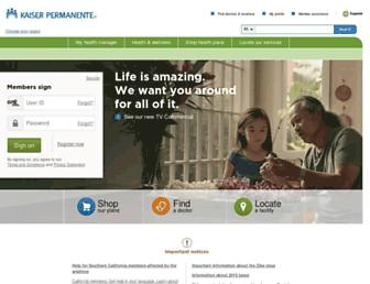 Main page screenshot of kaiserpermanente.org