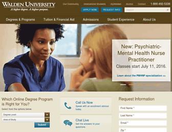 Main page screenshot of waldenu.edu