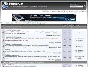 Main page screenshot of fudforum.org