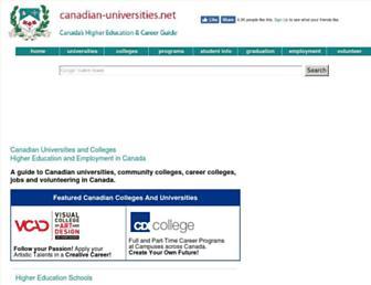 Main page screenshot of canadian-universities.net