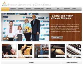 Main page screenshot of adventist.ro