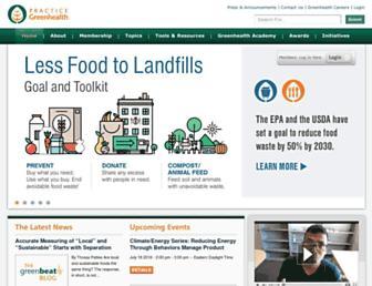 Main page screenshot of practicegreenhealth.org