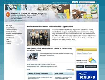 Main page screenshot of finland.org.hk