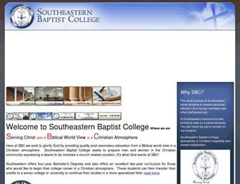 Main page screenshot of southeasternbaptist.edu