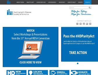 Main page screenshot of hdsa.org