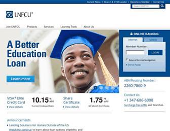 Main page screenshot of unfcu.coop