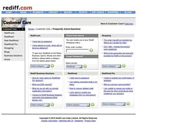 support.rediff.com screenshot