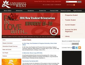 Main page screenshot of uwest.edu