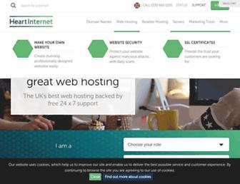 Main page screenshot of heartinternet.co.uk