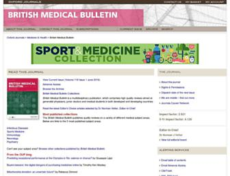 Main page screenshot of bmb.oxfordjournals.org