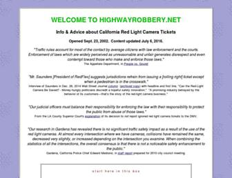 Main page screenshot of highwayrobbery.net