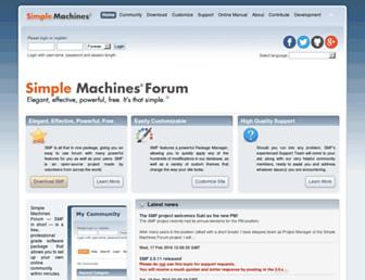 Main page screenshot of simplemachines.org