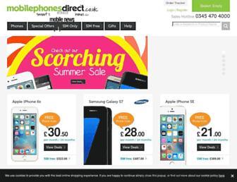 Main page screenshot of mobilephonesdirect.co.uk