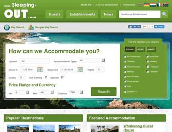 Main page screenshot of sleeping-out.co.za