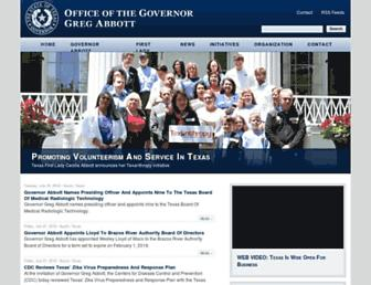 Main page screenshot of governor.state.tx.us