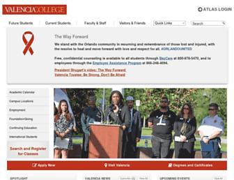 Main page screenshot of valenciacollege.edu