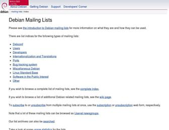 lists.debian.org screenshot