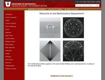 Main page screenshot of math.utah.edu