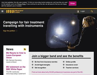 musiciansunion.org.uk screenshot