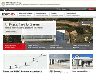 Main page screenshot of hsbc.co.nz