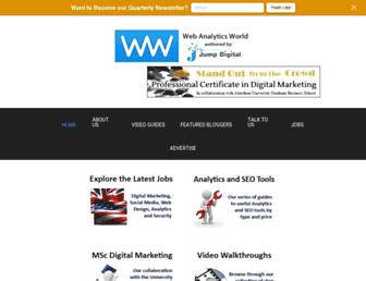 Main page screenshot of webanalyticsworld.net