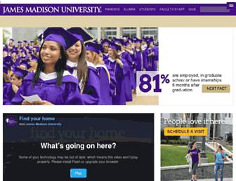 Main page screenshot of jmu.edu