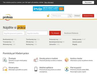 profesia.sk screenshot