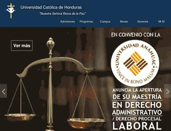 Main page screenshot of unicah.edu