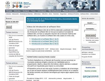 Main page screenshot of softwarelibre.uca.es