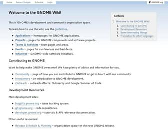 Main page screenshot of live.gnome.org