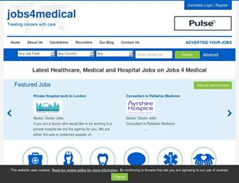 Main page screenshot of jobs4medical.co.uk
