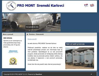 Main page screenshot of pro-mont.co.rs